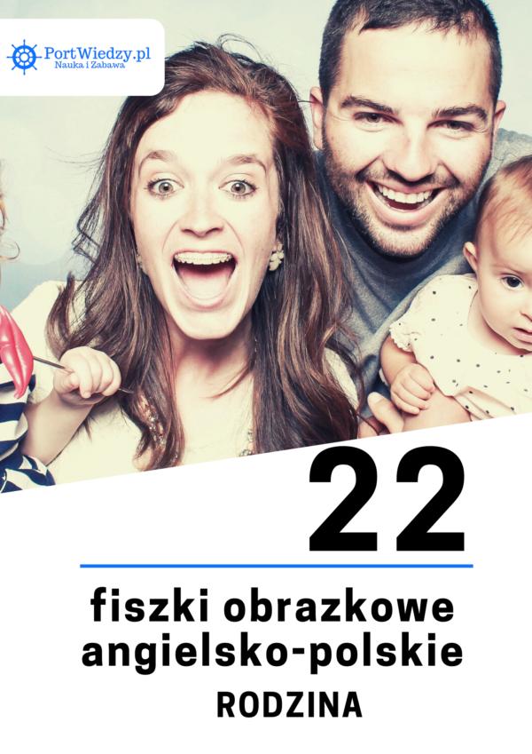 angielska rodzina fiszki 600x849 - 22 fiszki obrazkowe angielsko-polskie: Rodzina